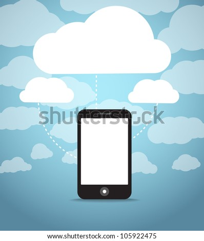 Abstract style modern phone with media clouds. Template for any content