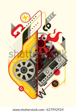 Abstract style poster design, with retro reel to reel tape recorder and various objects in color. Vector illustration.