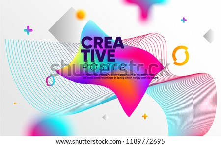 Abstract Style poster with colorful elements. Creative vector illustration with bright neon mesh, 80's - 90's trend.