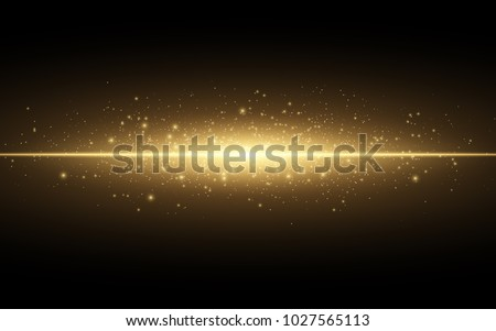 Abstract stylish light effect on a black background. Gold glowing neon line. Golden luminous dust and glares. Flash Light. luminous trail. Vector illustration. EPS 10
