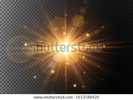 Abstract stylish light effect on a black background. Gold glowing neon line. Golden luminous dust and glares. Flash Light. luminous trail. Vector illustration. Foto stock ©