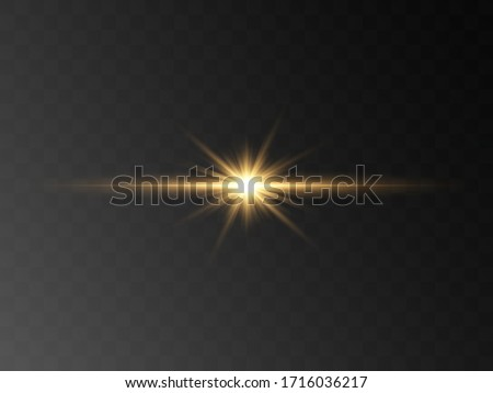 Abstract stylish light effect on a black background. Gold glowing neon line. Golden luminous dust and glares. Flash Light. luminous