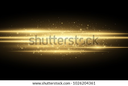 Abstract stylish light effect on a black background. Gold glowing neon lines in motion. Golden luminous dust and glares. Flash Light. luminous trail. Vector illustration. EPS 10