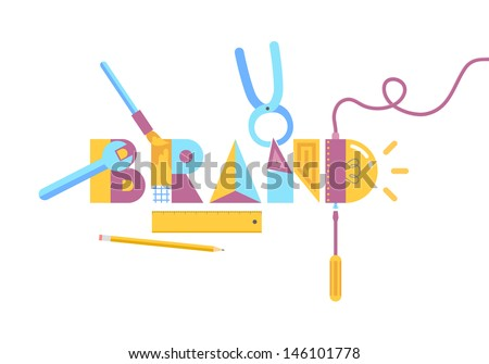 Abstract stylish vector illustration of brand construction concept in modern flat design. Isolated on white background