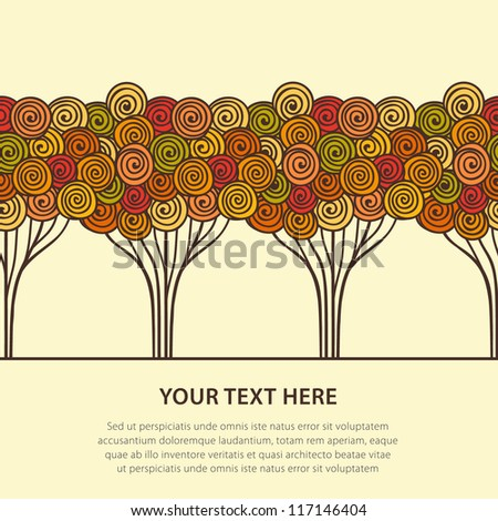 Abstract stylized autumn trees. Vector illustration