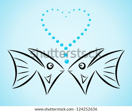 Abstract stylized fishes in love