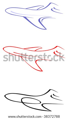 Abstract stylized image of air liner - vector illustration. Outline.