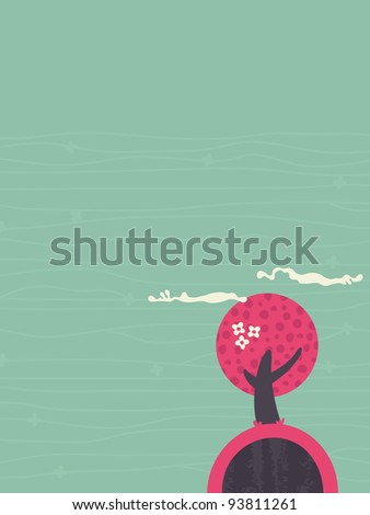 Abstract stylized tree design, Vector.