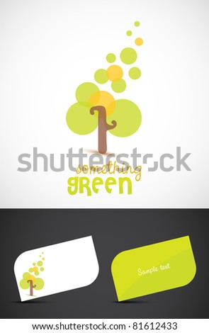 Abstract stylized tree icon such logo and business cards, EPS10 vector.
