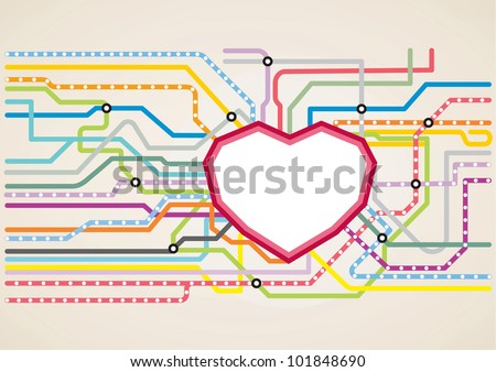 Abstract subway map in shape of a heart. Vector illustration metro map