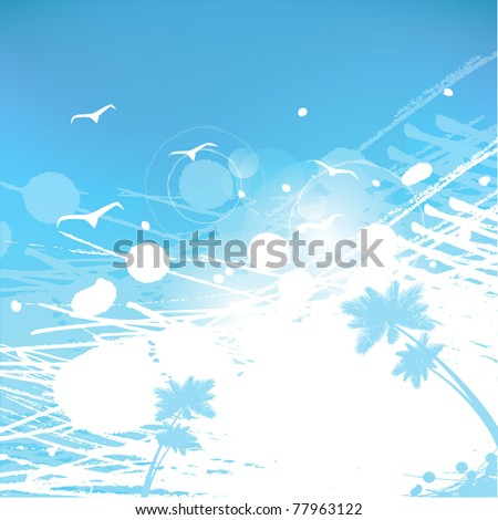 abstract summer background palms, seagulls, splashes,sky - stock vector
