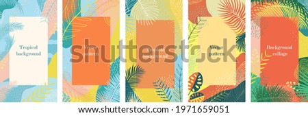 Abstract summer background with tropical palm leaves. Texture in blue and orange, jungle, beach theme. Set of backgrounds for posts, social network, flyer, card, sale Vertical template, place for text