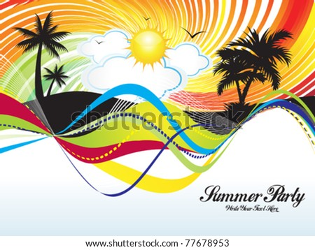 abstract summer party background vector illustration
