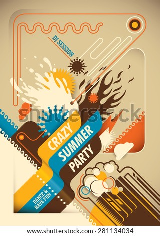 abstract summer party poster