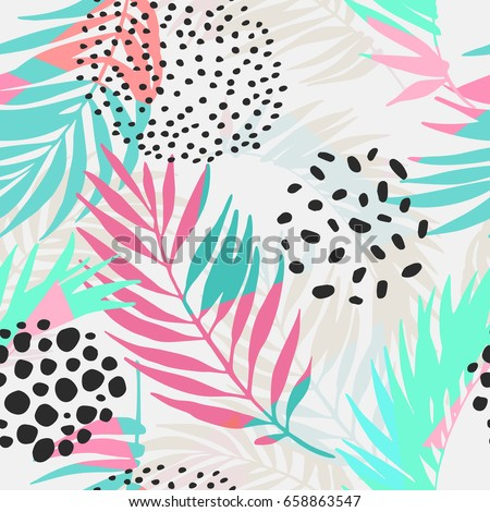 Abstract summer seamless pattern. Floral and geometric background with triangles, palm leaves, doodle, gradient texture, 80s 90s shapes, pop art, memphis elements. Hand drawn natural illustration