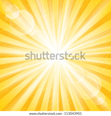 Abstract Sun Background Vector Illustration. Divergent rays and glare