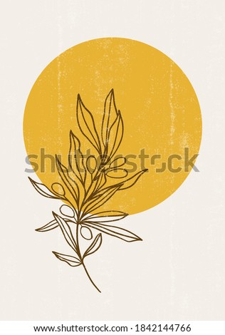 abstract sun moon olives print