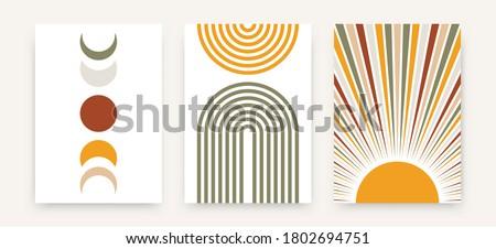 Abstract sun moon poster set. Contemporary minimalist backgrounds modern boho style. Mid century wall decor, vector art print. Zdjęcia stock ©