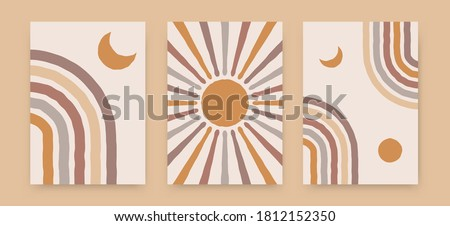 Abstract sun moon rainbow posters. Contemporary backgrounds, boho covers trendy mid century style. Geometric vector wall decor. Stock photo ©