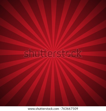 Abstract sunbeams background. Bright sunbeams on red background. Vector illustration. Abstract bright background