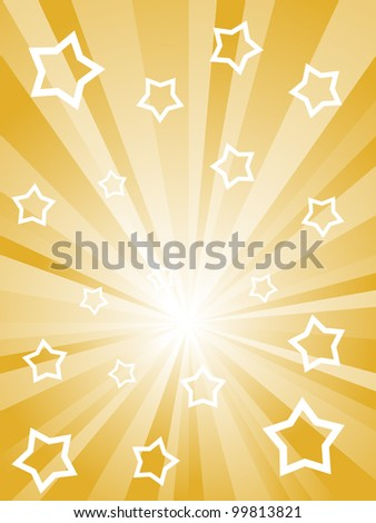 Abstract sunny rays with white stars and stripes.