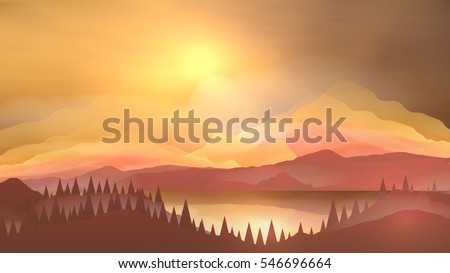 abstract sunrise mountains with