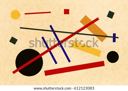Abstract suprematism composition, horizontal flat illustration on old canvas with texture