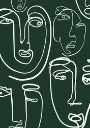 Abstract surreal face art one line continuous drawing. Fashion portrait. Hand drawn vector doddle sketch. Minimal poster. Contemporary trendy design for placards, flyers, invitations.