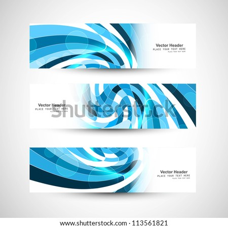 Abstract swirl header blue wave vector whit design