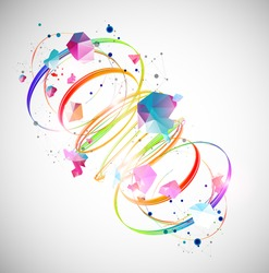 Abstract swirling colored lines. Futuristic geometric composition. Background for design works.