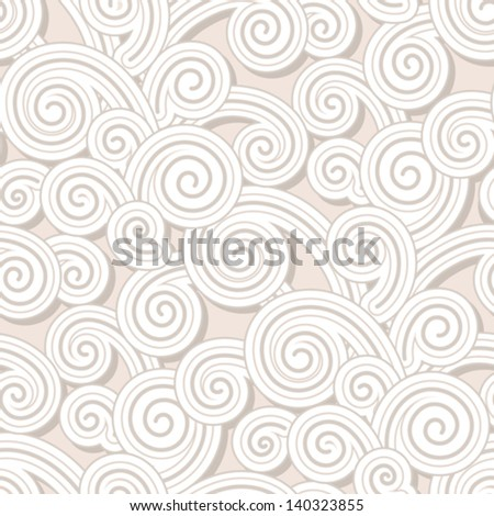 Abstract swirls, vector seamless pattern, vintage paper background