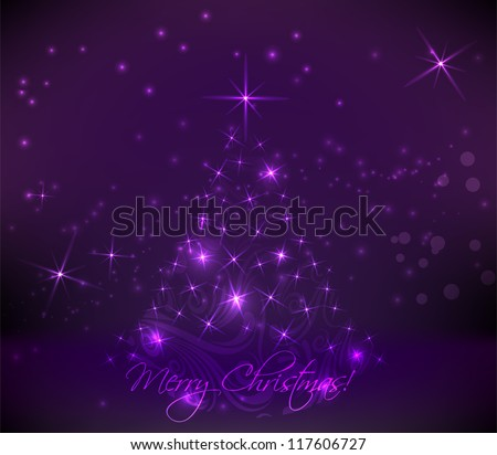 Abstract swirly christmas tree on dark purple background
