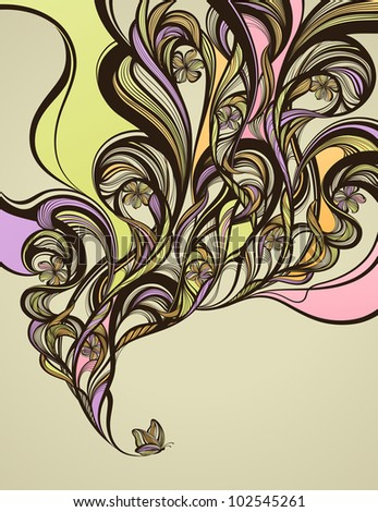 abstract swirly floral design