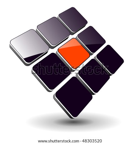 Abstract symbol, 3d glossy cubes, vector.