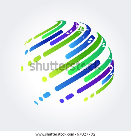 Abstract Symbol made of blue and green stripes