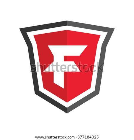 Abstract symbol of  shield. Shield icon. Security company logo. Abstract symbol of security. Letter F.