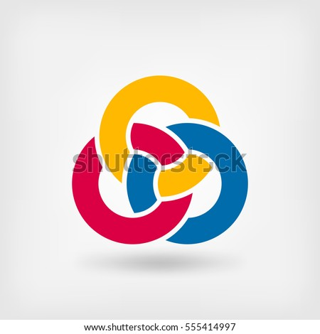 abstract symbol three interlocking rings. vector illustration - eps 10