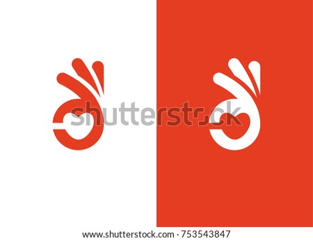Abstract symbol with heart shape and ok hand sign. Cardiology health care center, medical clinic logo.