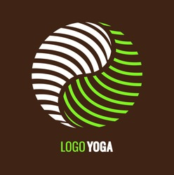 Abstract symbol Yin Yang on dark brown background. Vector logo for yoga center or medical Company. yin yang - symbol of harmony and balance.