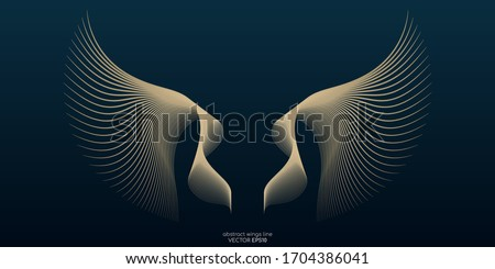 Abstract symmetry bird wings line luxury gold color isolated on dark teal blue green background. Vector illustration.