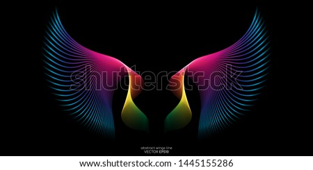 Abstract symmetry bird wings line rainbow colorful isolated on black background. Vector illustration.