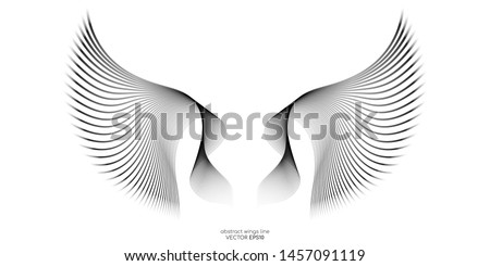 Abstract symmetry bird wings lines pattern isolated on white background. Vector illustration.