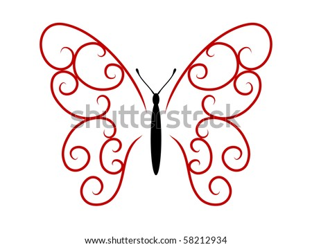 stock vector : Abstract tattoo butterfly - vector illustration