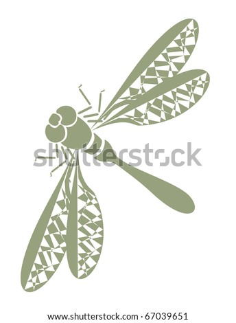 stock vector : abstract tattoo - insect dragonfly on white background