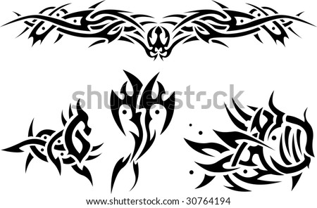 stock vector : Abstract tattoos sea animals