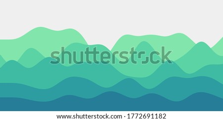 abstract teal green hills