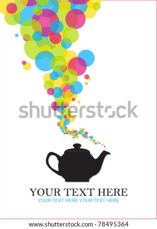 Abstract teapot illustration . Place for your text.