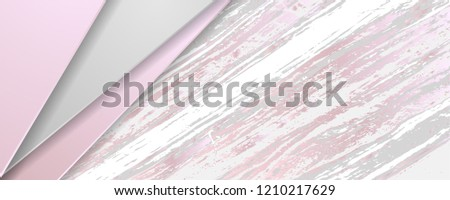Abstract tech corporate banner with pink and grey marble texture. Vector design