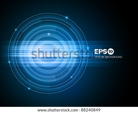 Abstract technical blue ring background with light effect