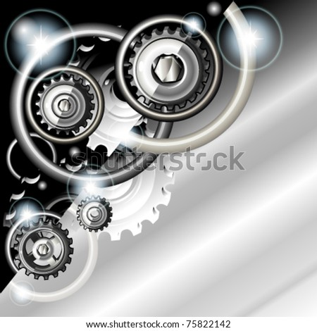 Abstract techno background with gears